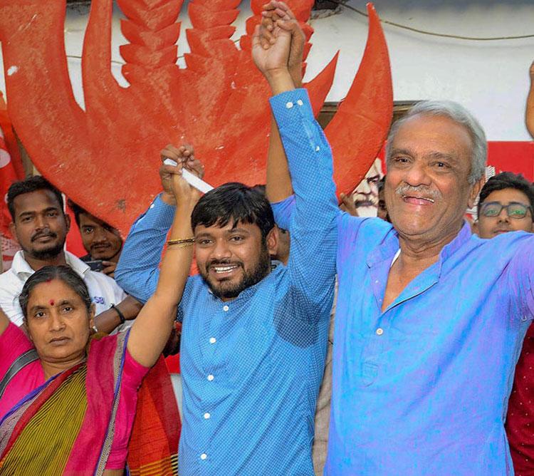 Kanhaiya Kumar with CPI leaders in Patna on Sunday