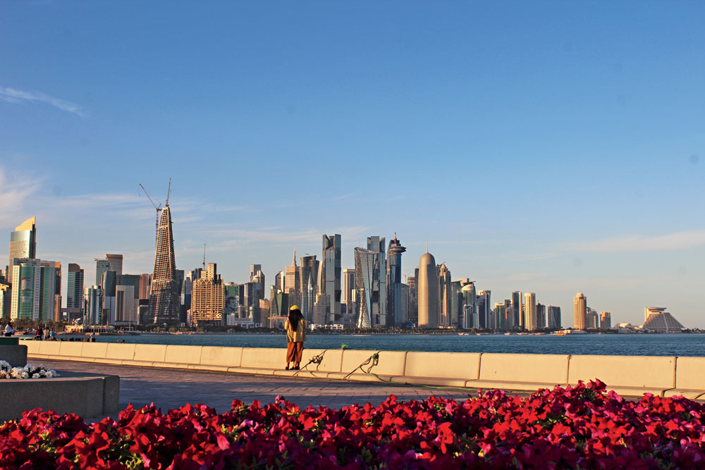 From the Doha Corniche one can see the impressively modern skyline of Qatar's capital