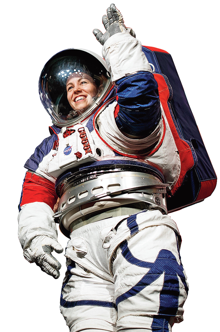 Astronauts will be able to reach across the suit and lift their arms above their heads