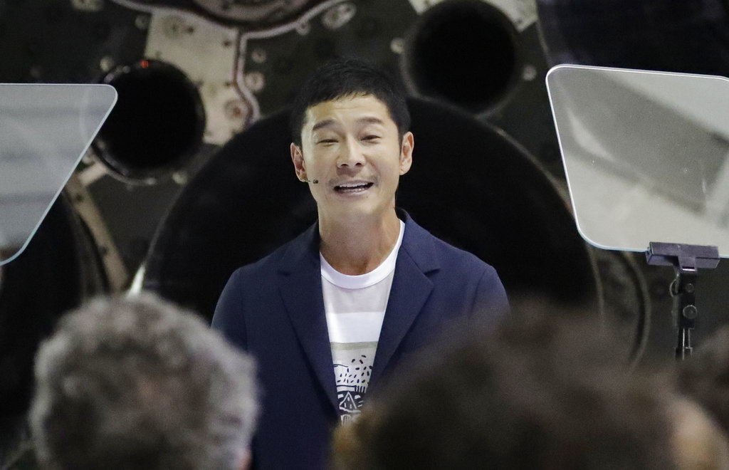 Yusaku Maezawa speaks after SpaceX founder and chief executive Elon Musk announced him as the person who would be the first private passenger on a trip around the moon.