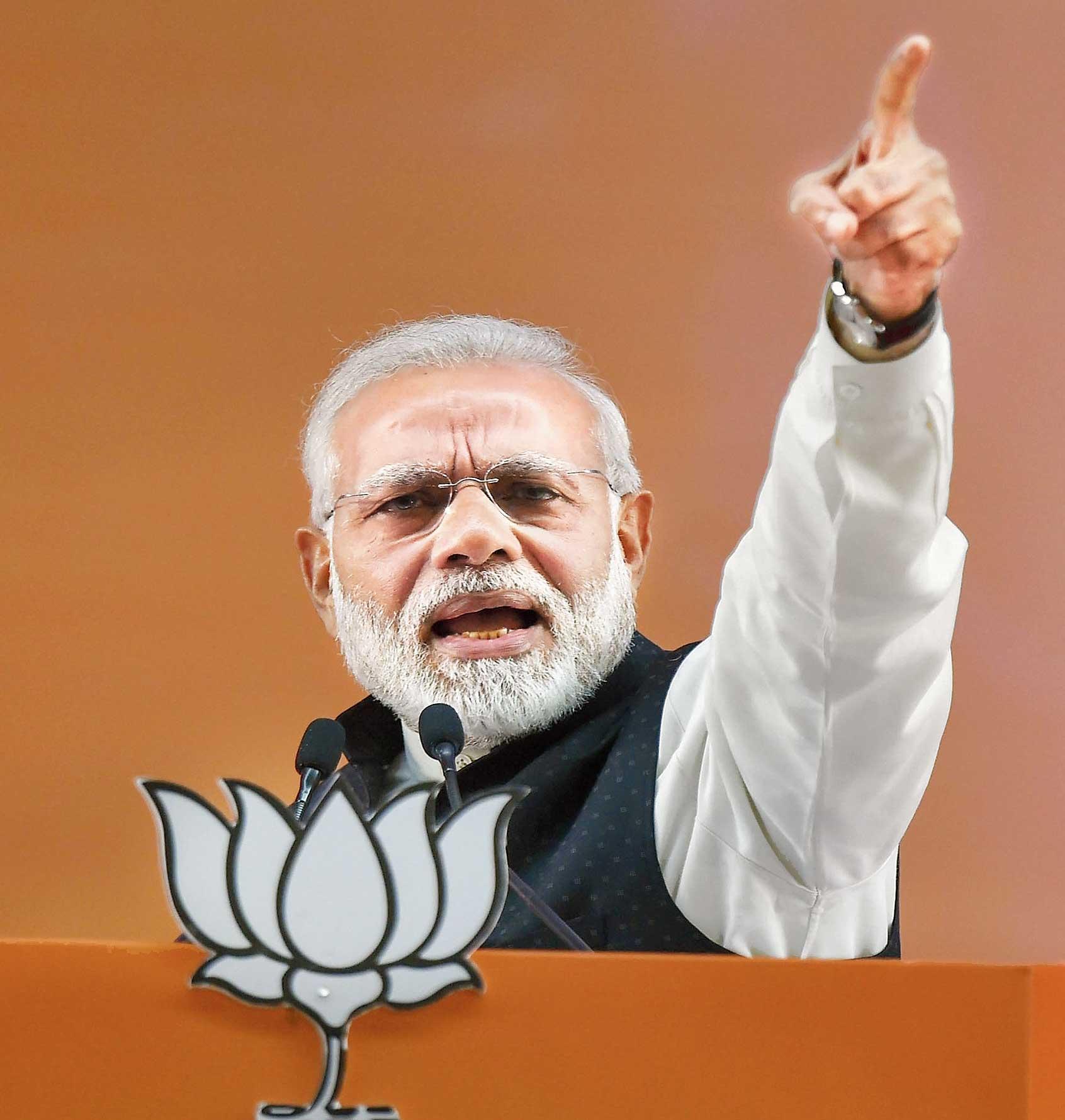 Narendra Modi addresses the BJP meeting.