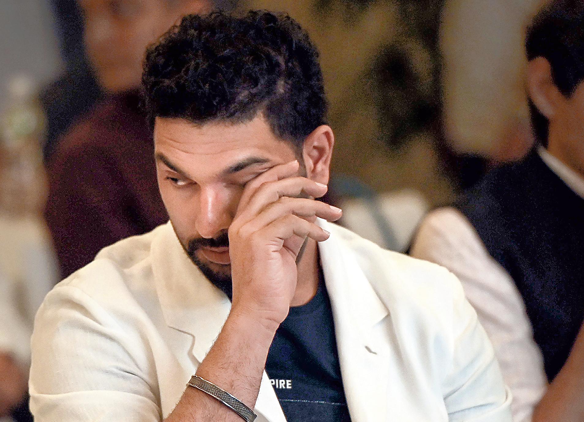 An emotional Yuvraj Singh in Mumbai on Monday.
