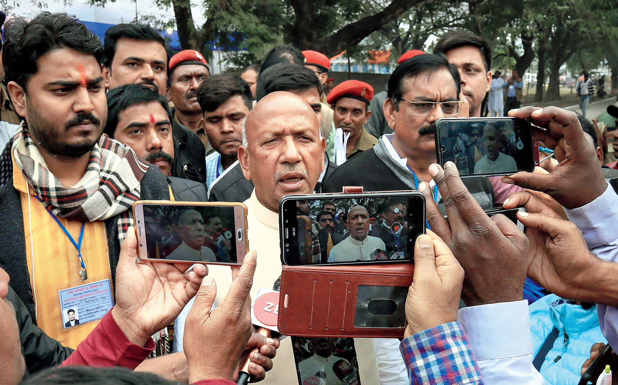 Saryu Roy speaks to the media in Jamshedpur on Monday.