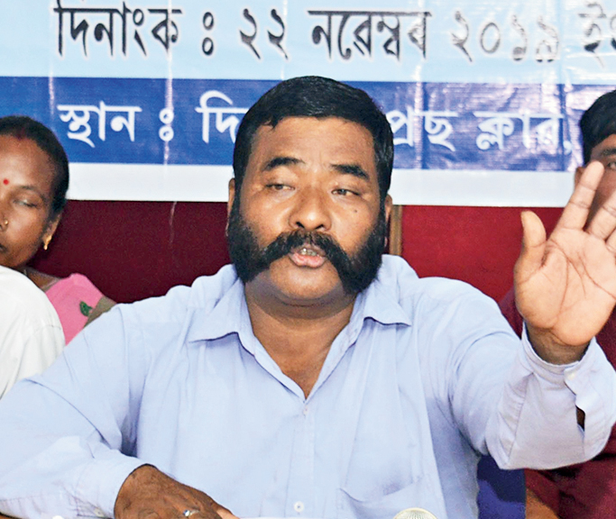 Jiten Rabha speaks at the news conference in Guwahati on Friday.