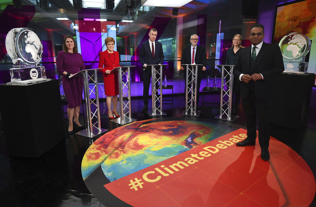 British leaders with host Krishnan Guru-Murthy (extreme right) before the Channel 4 News Climate Debate in London. The Conservatives and the Brexit Party did not attend the debate and were represented by ice sculptures.
