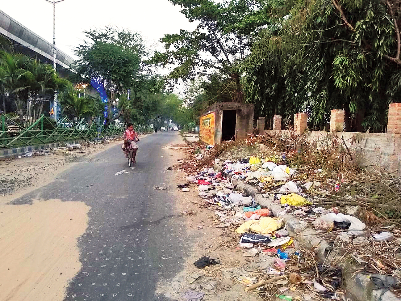 Garbage dumped on a road leading to Sukantanagar on Thursday