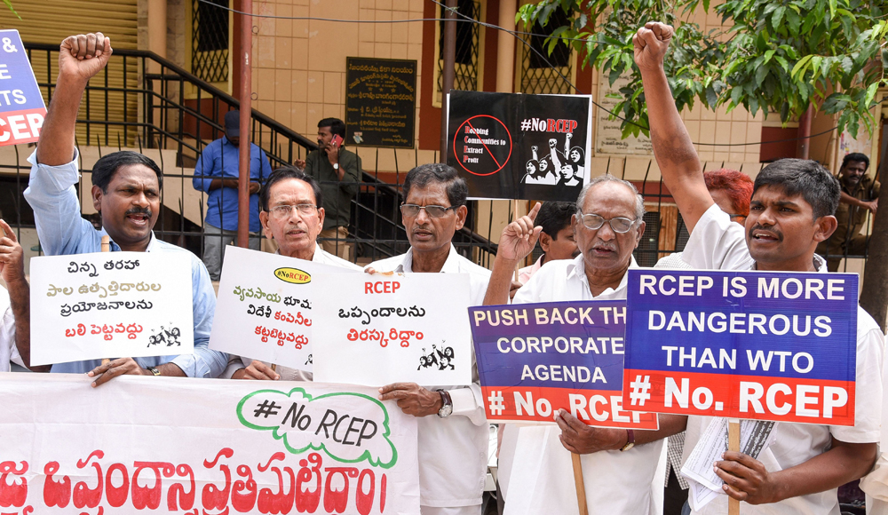 Farmers stage protest against the proposed regional comprehensive economic partnership free trade agreement, in Hyderabad on Friday, October 25, 2019.