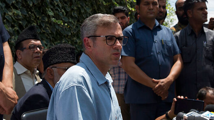 Omar Abdullah speaks during a press conference in Srinagar on August 3, 2019.