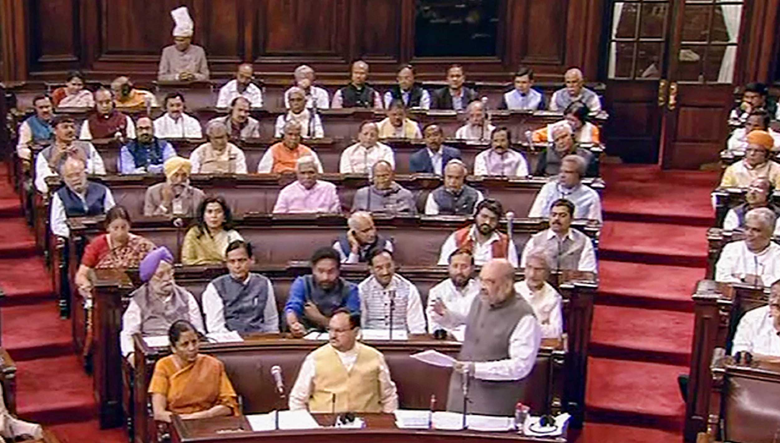 Amit Shah speaks in Rajya Sabha during the Budget Session of Parliament in New Delhi on Thursday.