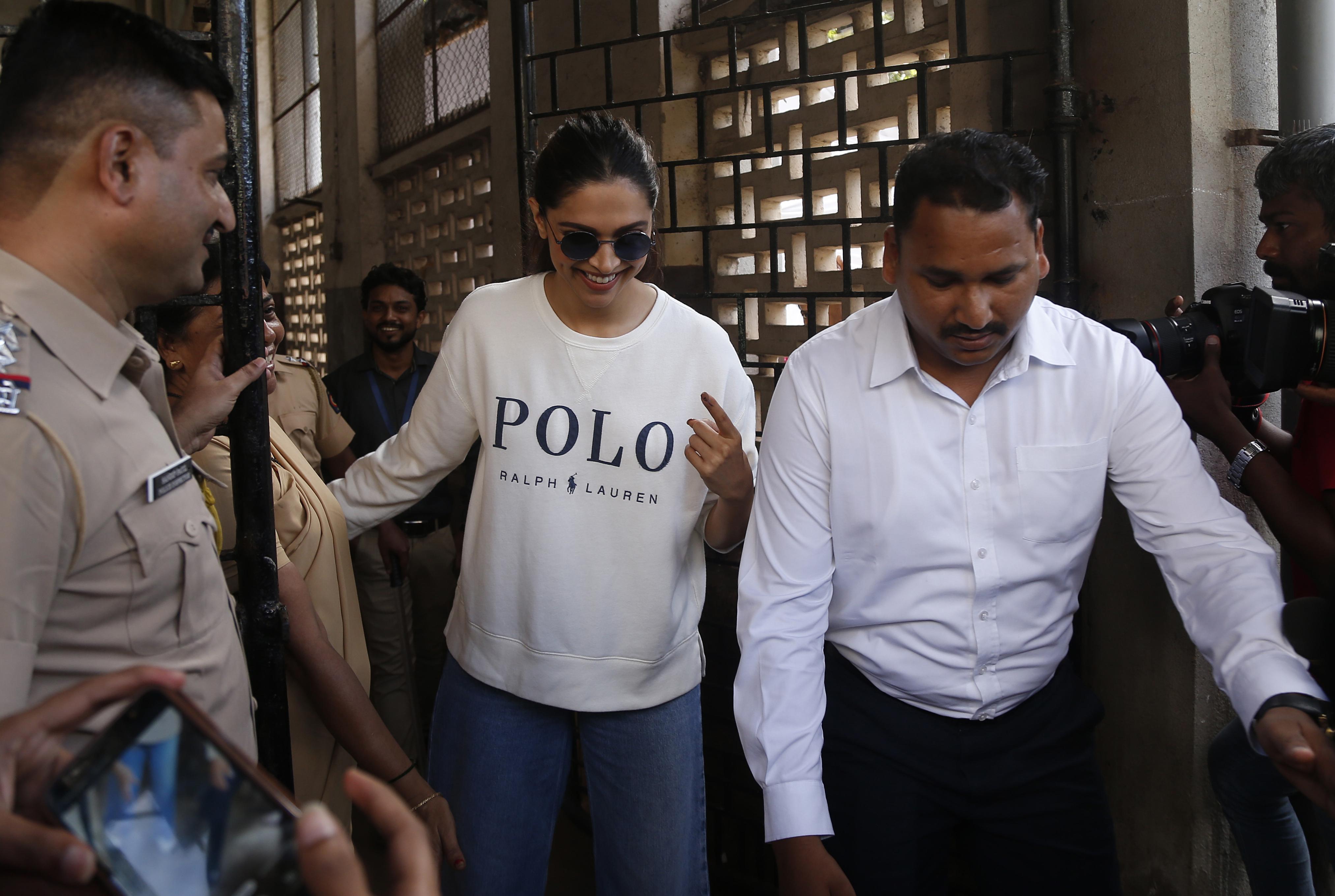 Deepika Padukone after voting in Mumbai on October 21