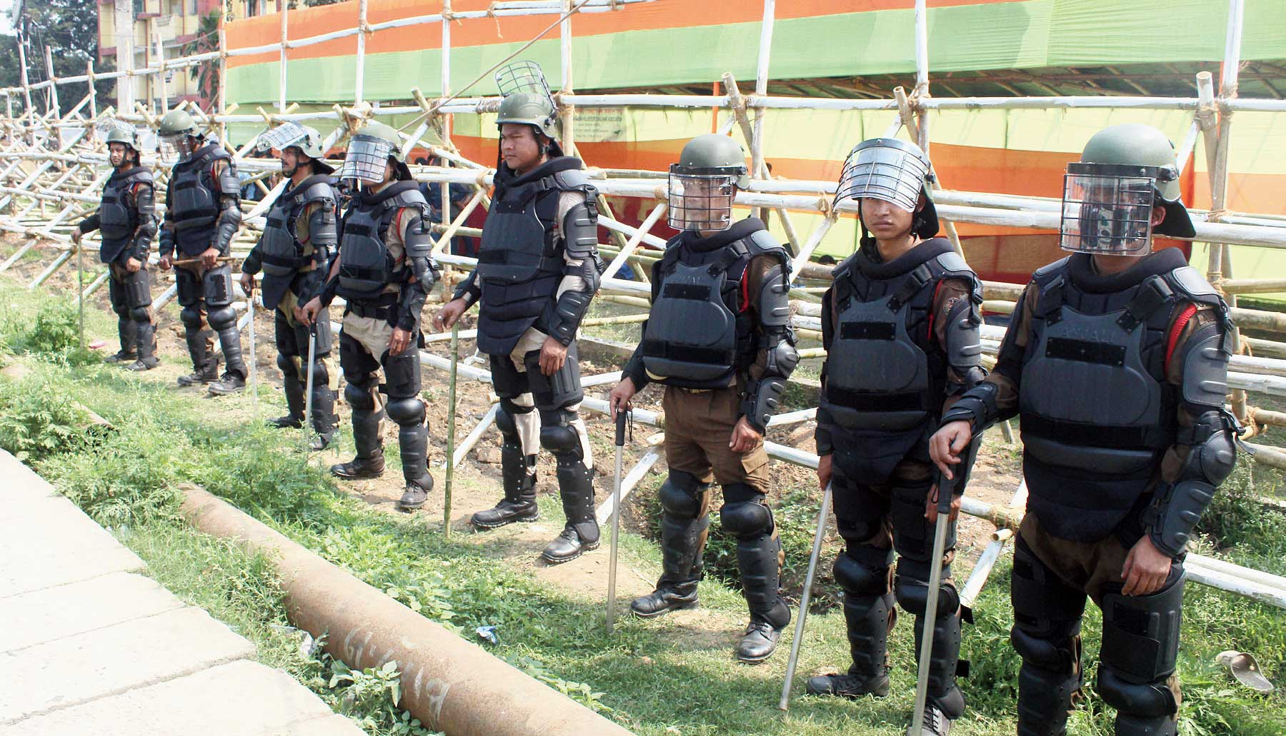 Security personnel keep vigil during the budget session of the Assam Assembly at Dispur Last Gate in Guwahati on Tuesday.