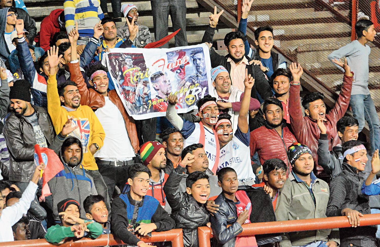 Spanish charm: JFC fans celebrate a goal against Chennaiyin FC at JRD Tata complex on Sunday.
