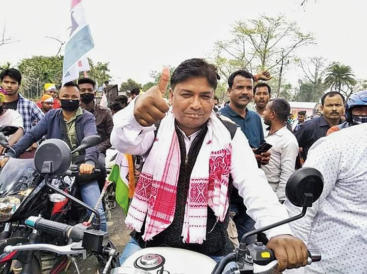 Member Council of Legislative Assembly Suresh Tanti at a bike rally in Udalguri on Monday.