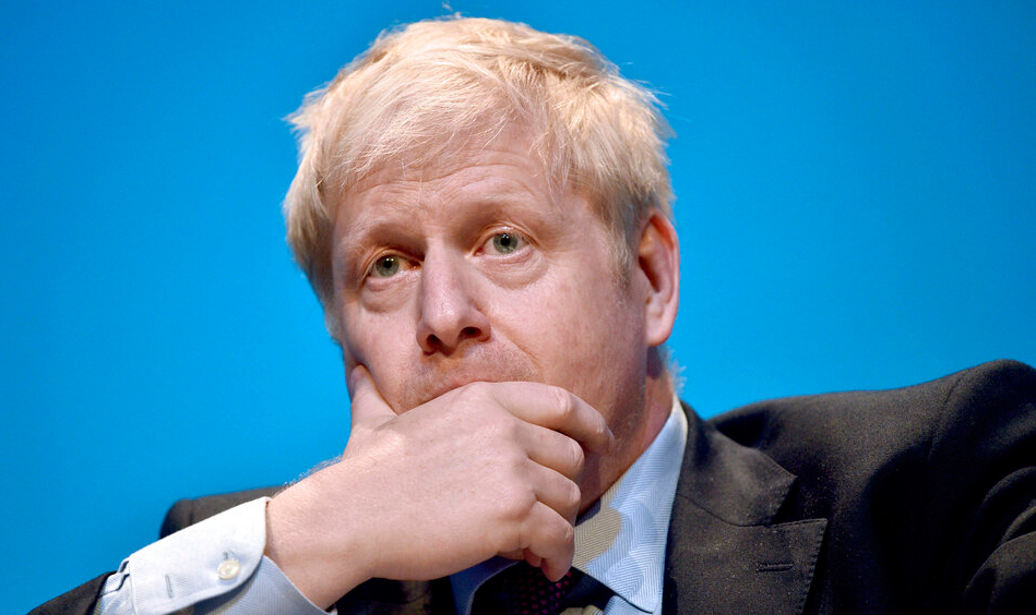 Conservative party leadership candidate Boris Johnson gestures, during the first party hustings at the ICC in Birmingham, England, Saturday June 22, 2019.
