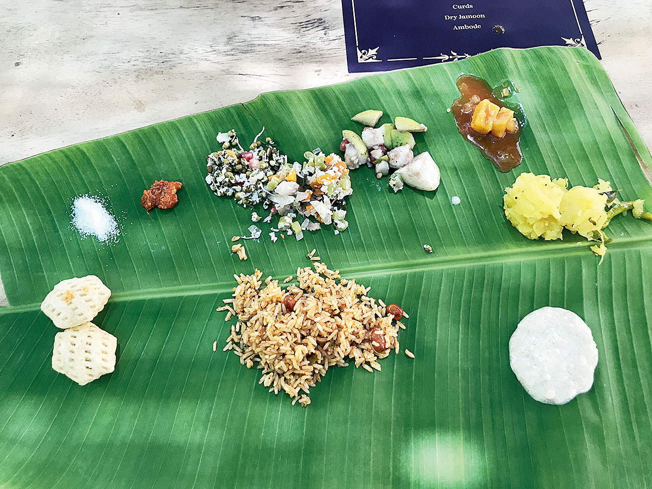 A traditional south Indian lunch