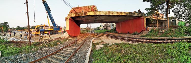 Tallah bridge being demolished on Tuesday.