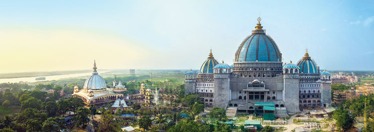 The under-construction Temple of the Vedic Planetarium, in which the pujari seva is ready