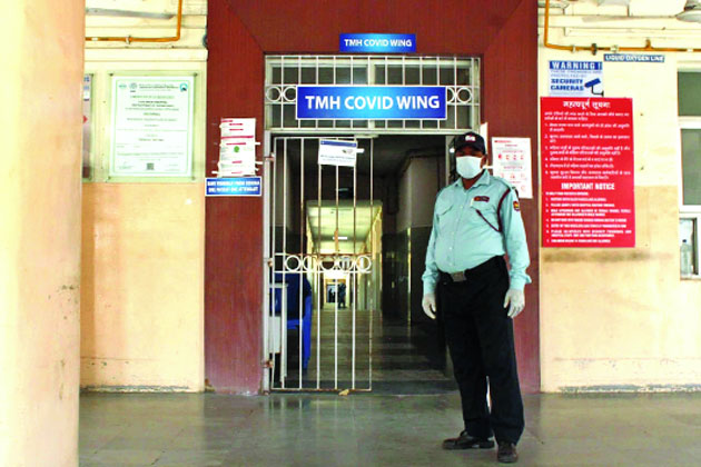 Security heightened at Tata Main Hospital on Tuesday.