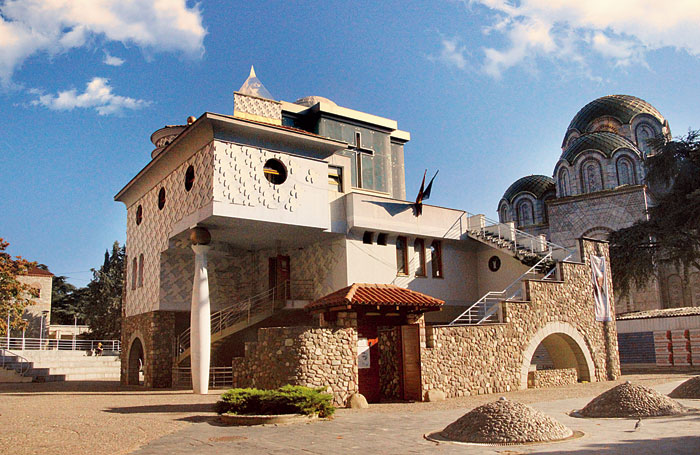Mother Teresa was born in Skopje. The statue of Mother Teresa (left) and the Mother Teresa Memorial House