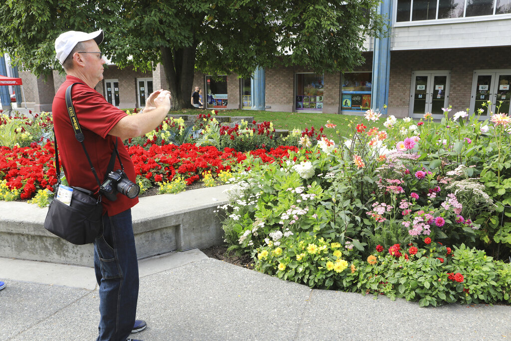 Central Florida resident Paul Leake photographs a dahlia garden in Town Square in Anchorage, Alaska, on Aug. 15, 2019