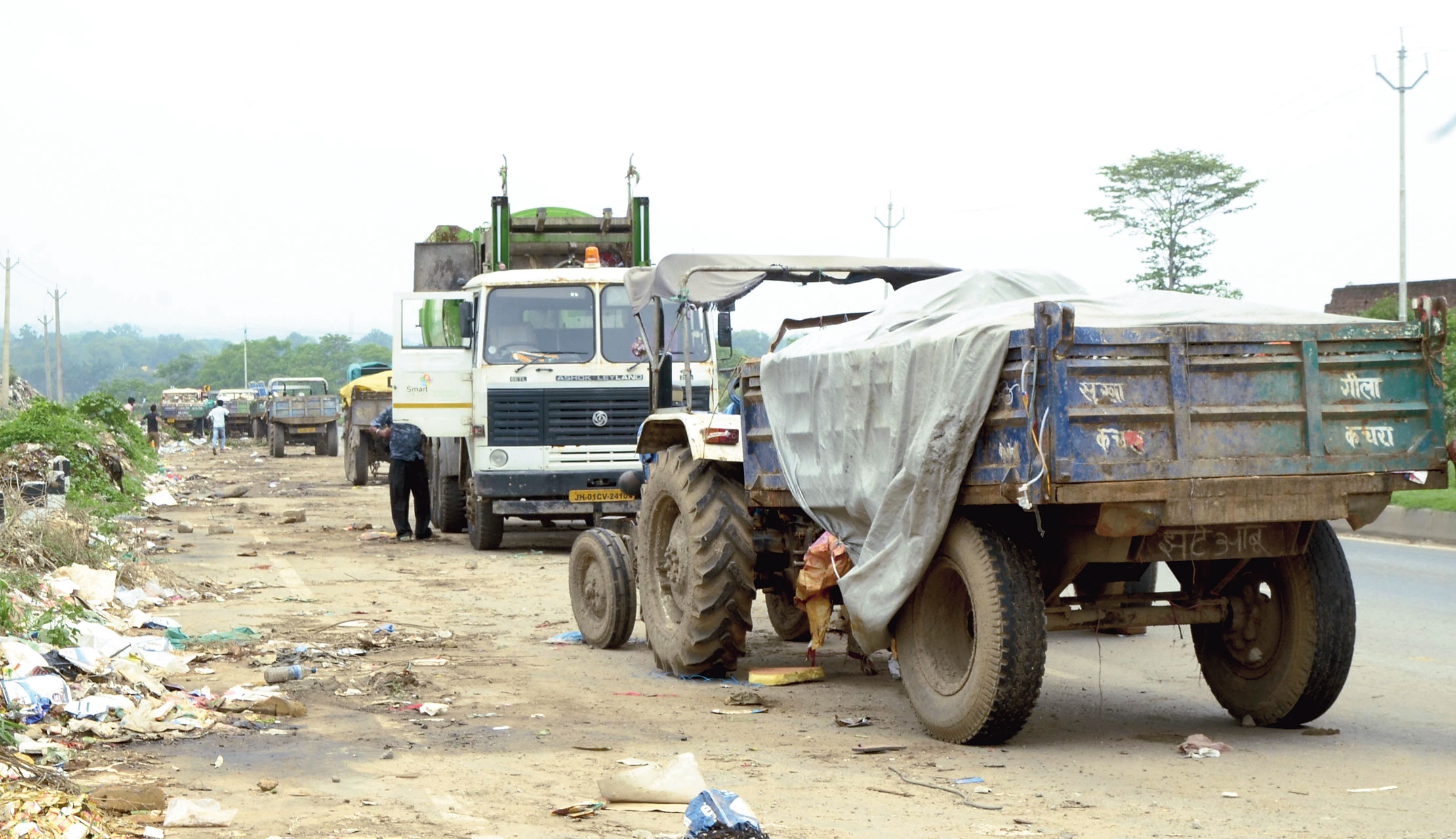 Garbage tractors idle in Ranchi on Thursday.
