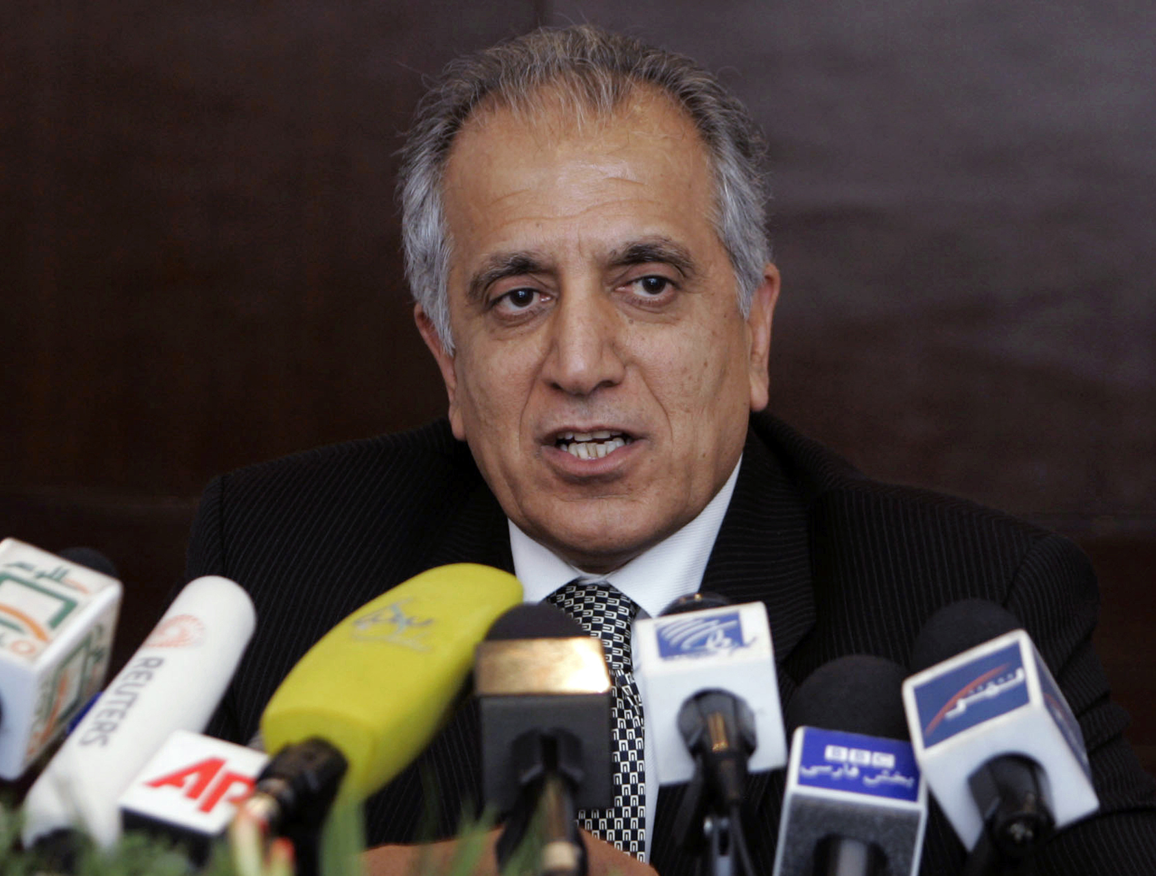 In this March 13, 2009, file photo, Zalmay Khalilzad, special adviser on reconciliation, speaks during a news conference in Kabul. Khalilzad said on Saturday that