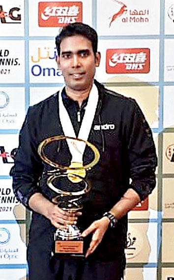 Sharath Kamal after winning the Oman Open