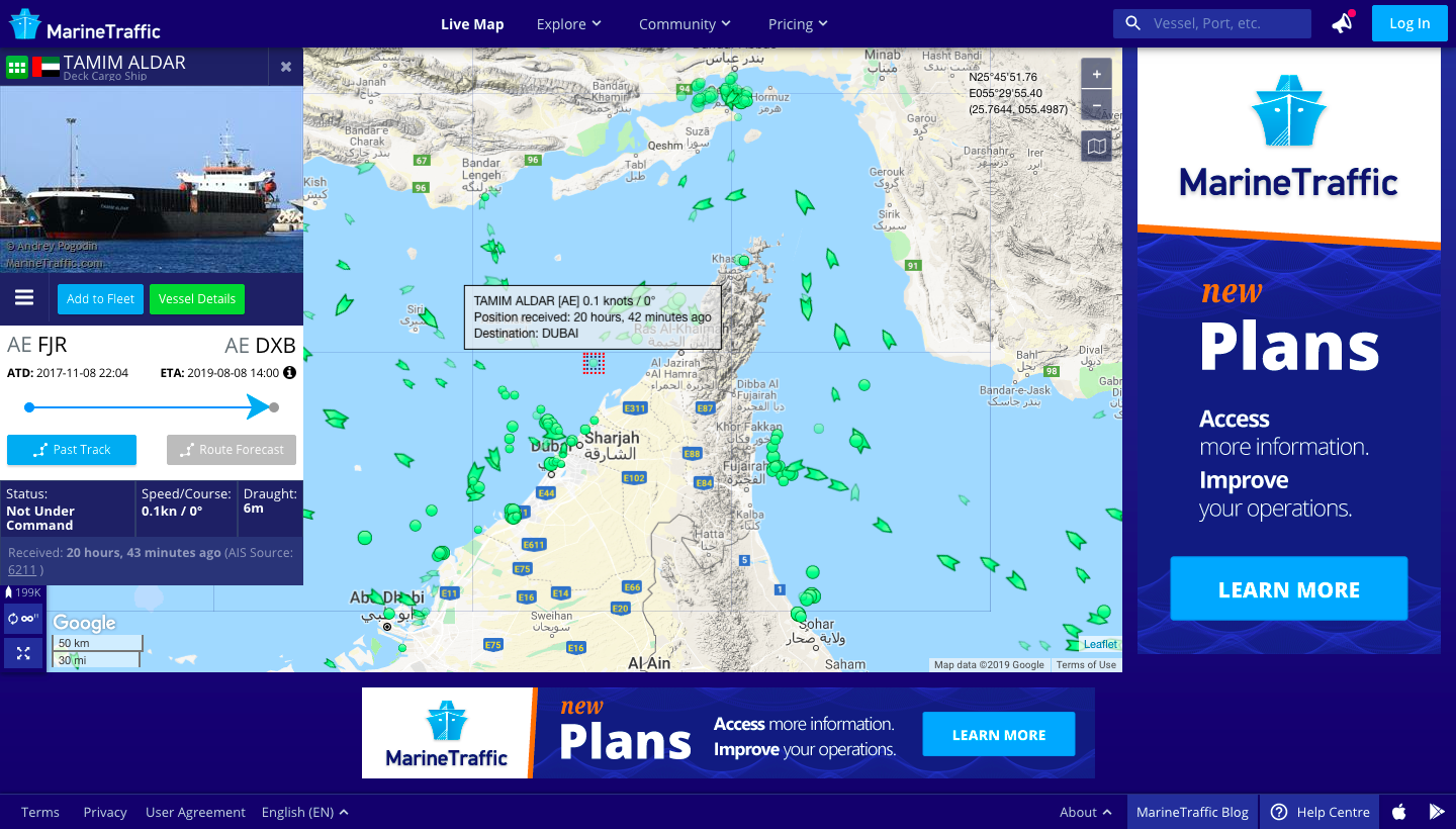 The location of the MV Tamim Aldar on a marine traffic monitoring website