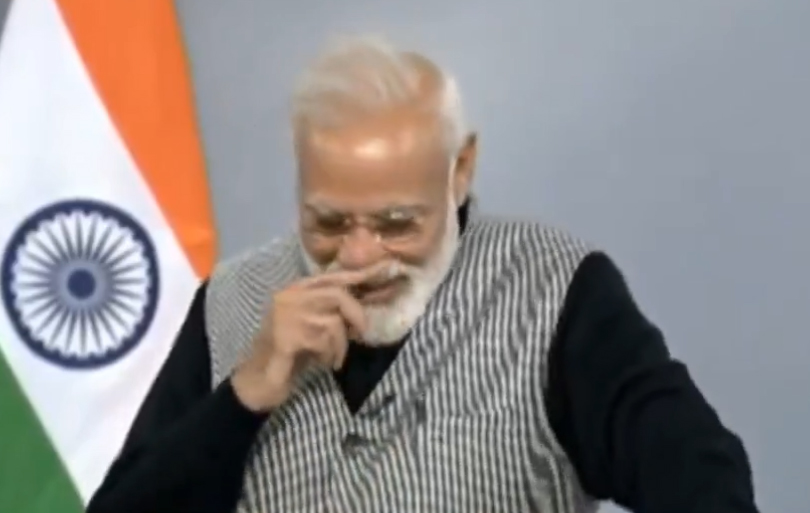 Modi is clearly bowled over by his own attempt at purported humour during a question-answer session via video link at the Smart India Hackathon. Many people, as well as the NPRD, have interpreted the comments as a dig at Congress president Rahul Gandhi and his mother Sonia Gandhi.
