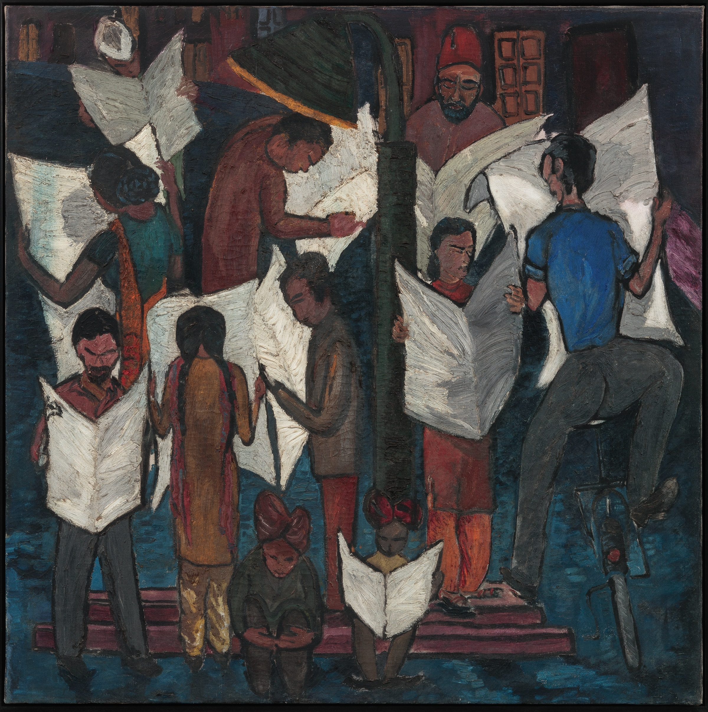Krishen Khanna, News of Gandhiji's Death, 1948, Oil on canvas.  In 1948, Mahatma Gandhi was shot by right-wing religious extremists. Khanna's painting is a balancing act of horror and hope. Here, newspapers are clutched in the hands of people from the different faiths of India's population Muslims, Christians, and Hindus all gather in grief. As we step back from the painting we realise that the fragmented group comes together to form a map of the subcontinent. ZJ