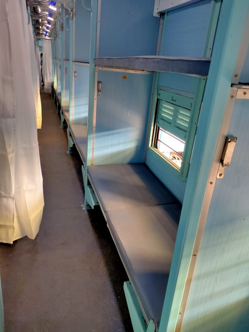 A prototype of an isolation ward for treating coronavirus patients inside non-air-conditioned train coaches, in New Delhi, Saturday, March 28, 2020.