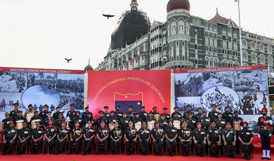 Army personnel poses for a group photograph after 50 medals including 23 gallantry medals and 21 GOC-in-C citations were presented to the awardees during Southern Command Investiture Ceremony, at Gateway of Indiain Mumbai
