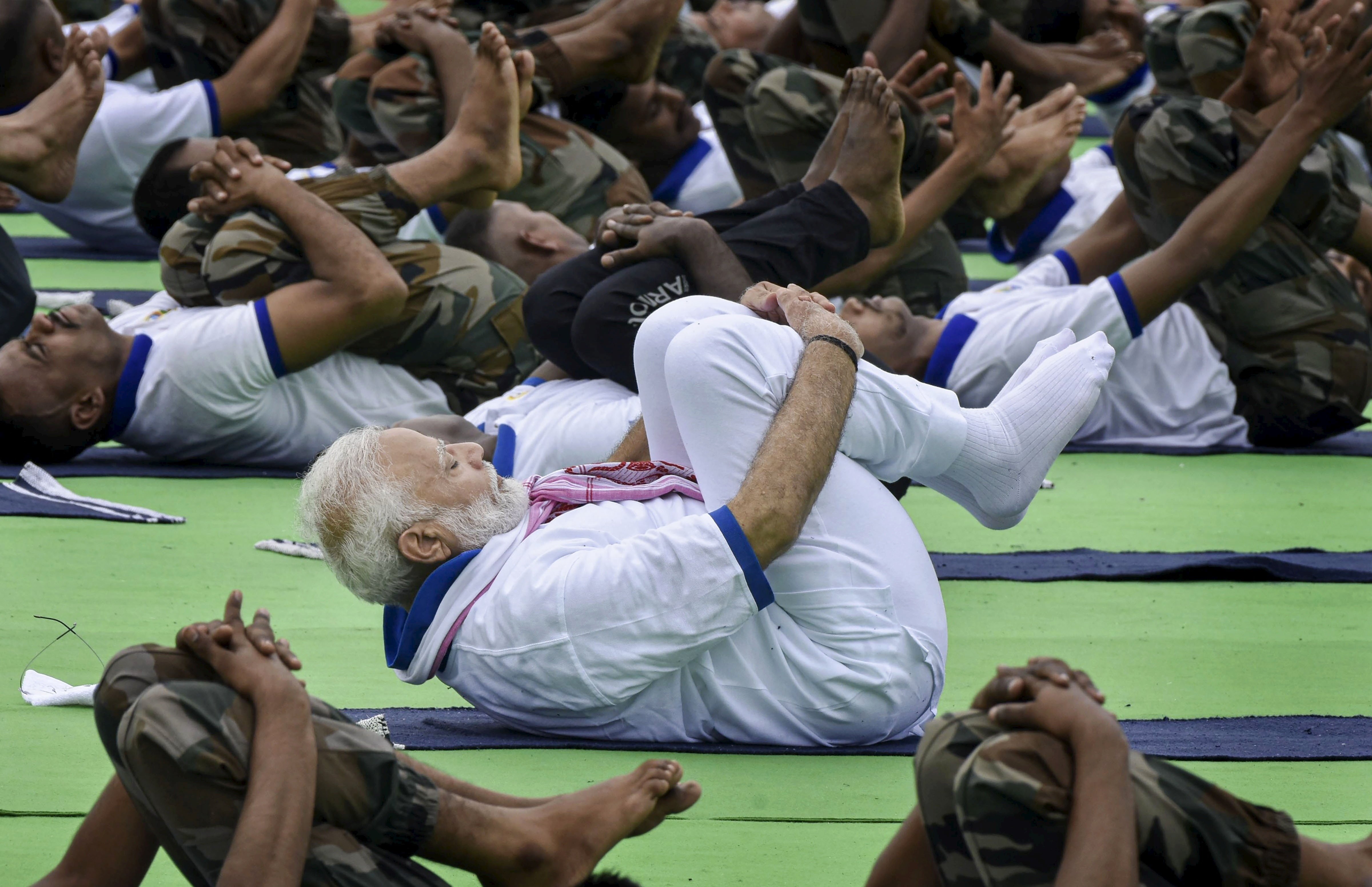Prime Minister Narendra Modi at the International Day of Yoga event in Ranchi on June 21.