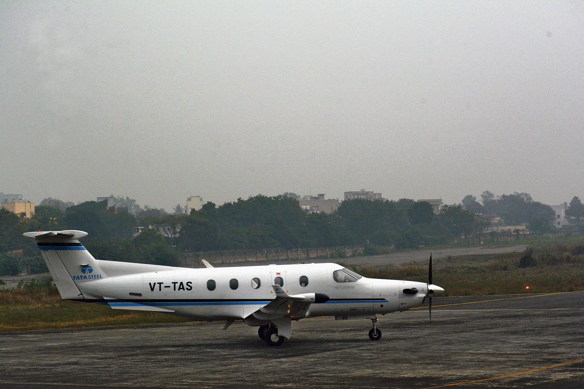 Fog envelops the Sonari aerodrome in Jamshedpur on Thursday.
