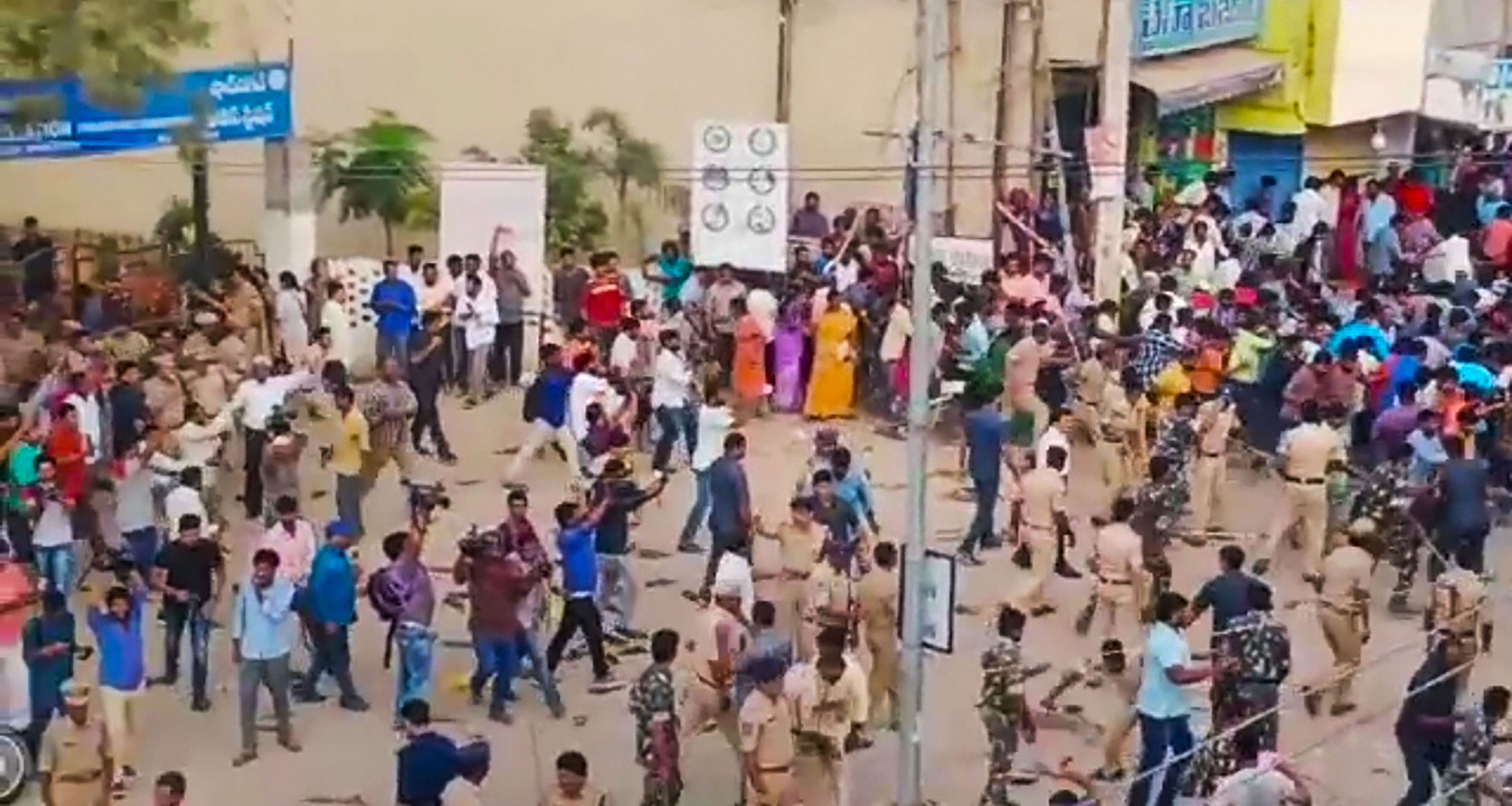 Protesters and police clash during a demonstration demanding justice for the murdered Veterinarian, whose charred remains was found under a culvert, in Hyderabad, Saturday, November 30, 2019.