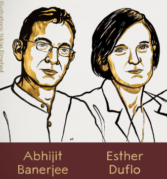 Sketches of Abhijit Banerjee and Esther Duflo, two of this year's Nobel winners in Economics. They will share the prize with Michael Kremer of Harvard.