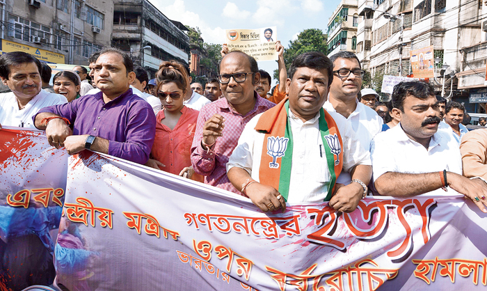 "BJP state general secretary Sayantan Basu (in pink), who took part in a party rally to protest the attack on Babul Supriyo, said: ""Those who attacked Babul Supriyo will have to face serious consequences."