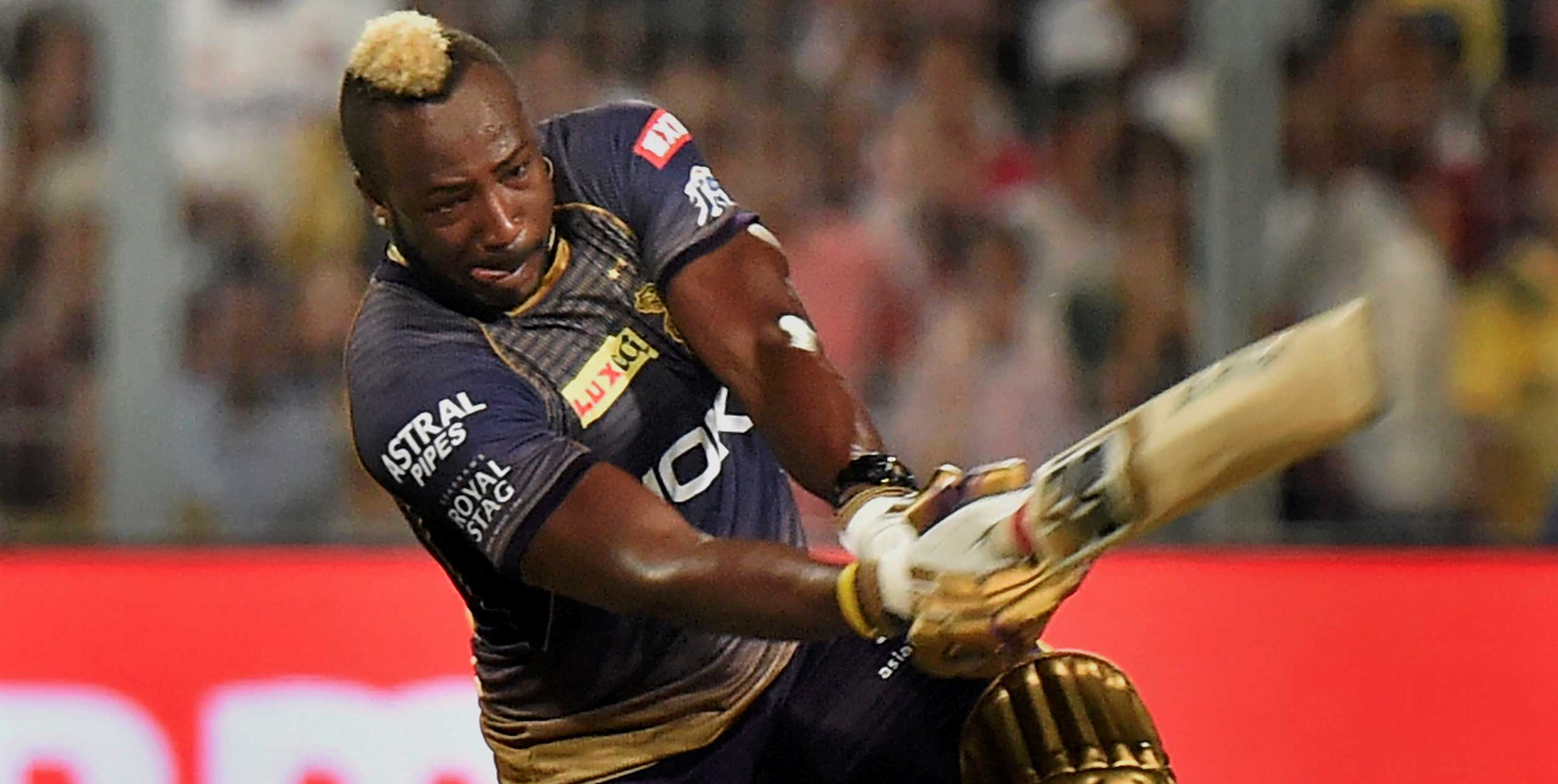 Andre Russell plays a shot against Sunrisers Hyderabad during IPL 2019, at Eden Gardens, in Calcutta, on Sunday.
