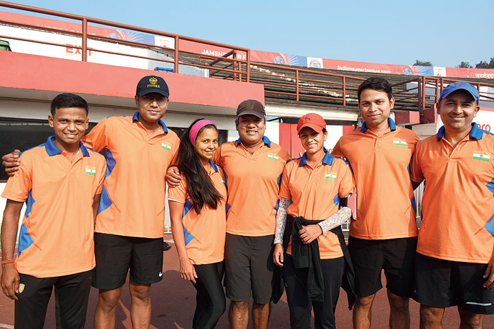 (From left) Raja Babu, Piyush Adesara, Vibhuti Adesara, Nalin Goel,  Neelam Jain, Jaswant Rajak and Siddharth Adeshara after their practice session at JRD Tata Sports Complex in Bistupur, Jamshedpur, on Thursday.