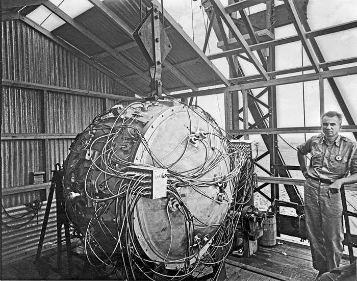 The world's first atomic bomb, an implosion-type device nicknamed The Gadget, that had a similar firing circuit