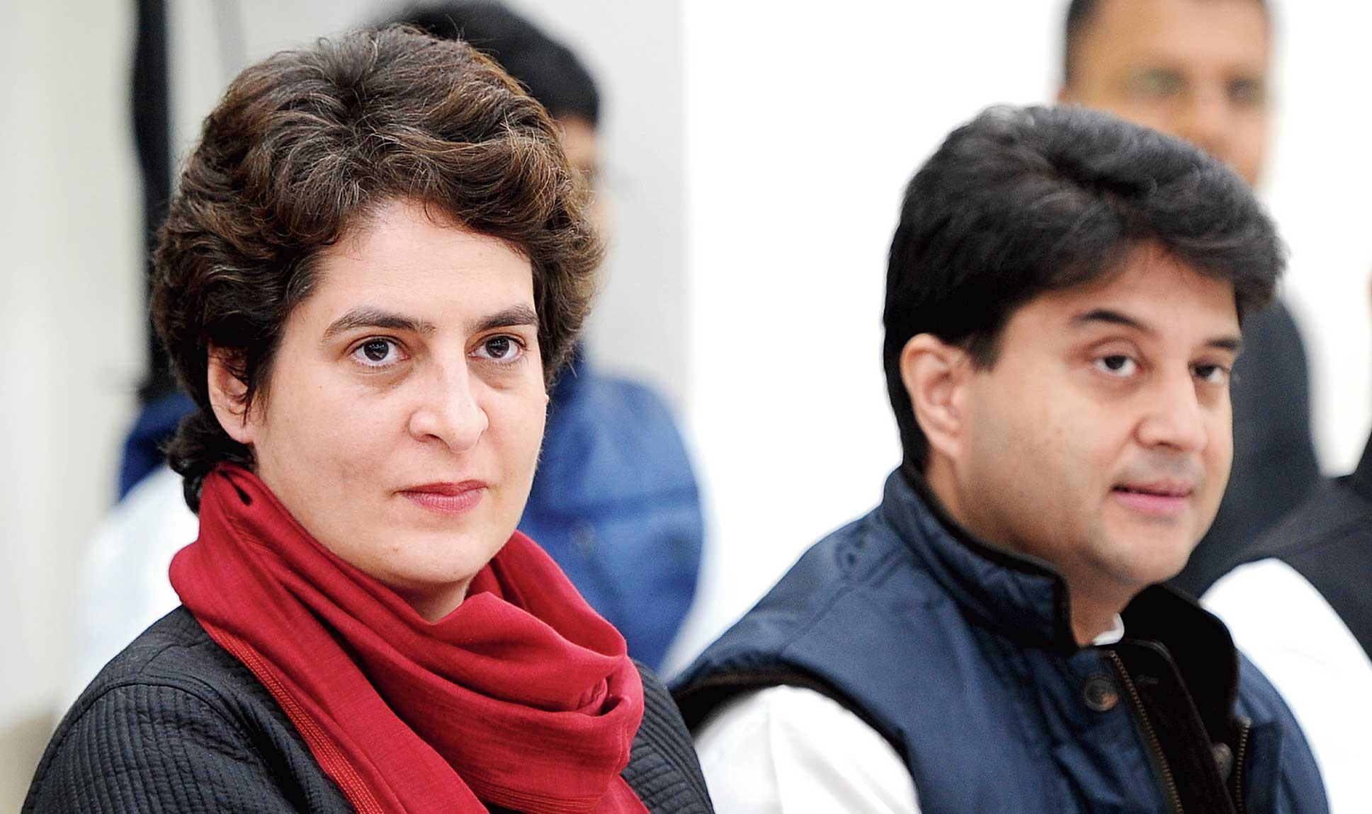 Priyanka Gandhi Vadra and Jyotiraditya Scindia at a Congress meeting.