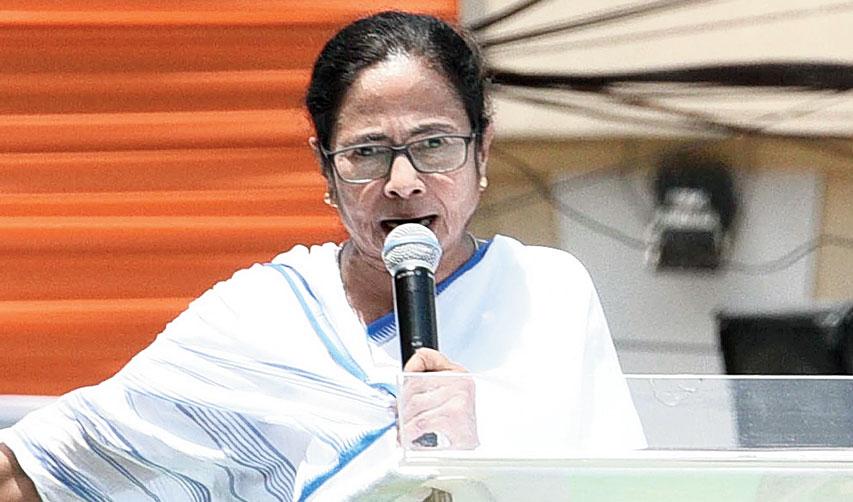 Mamata addresses the rally in Calcutta on Sunday.