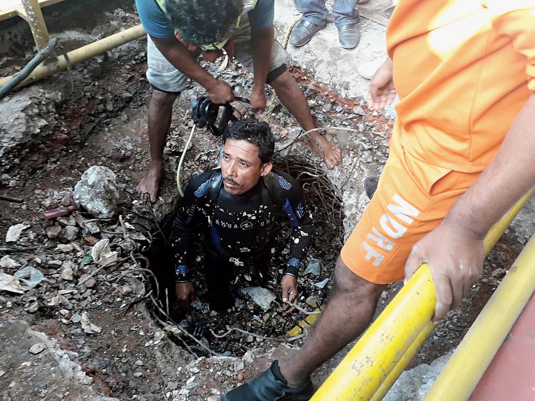 A diver during the rescue operation on Thursday.