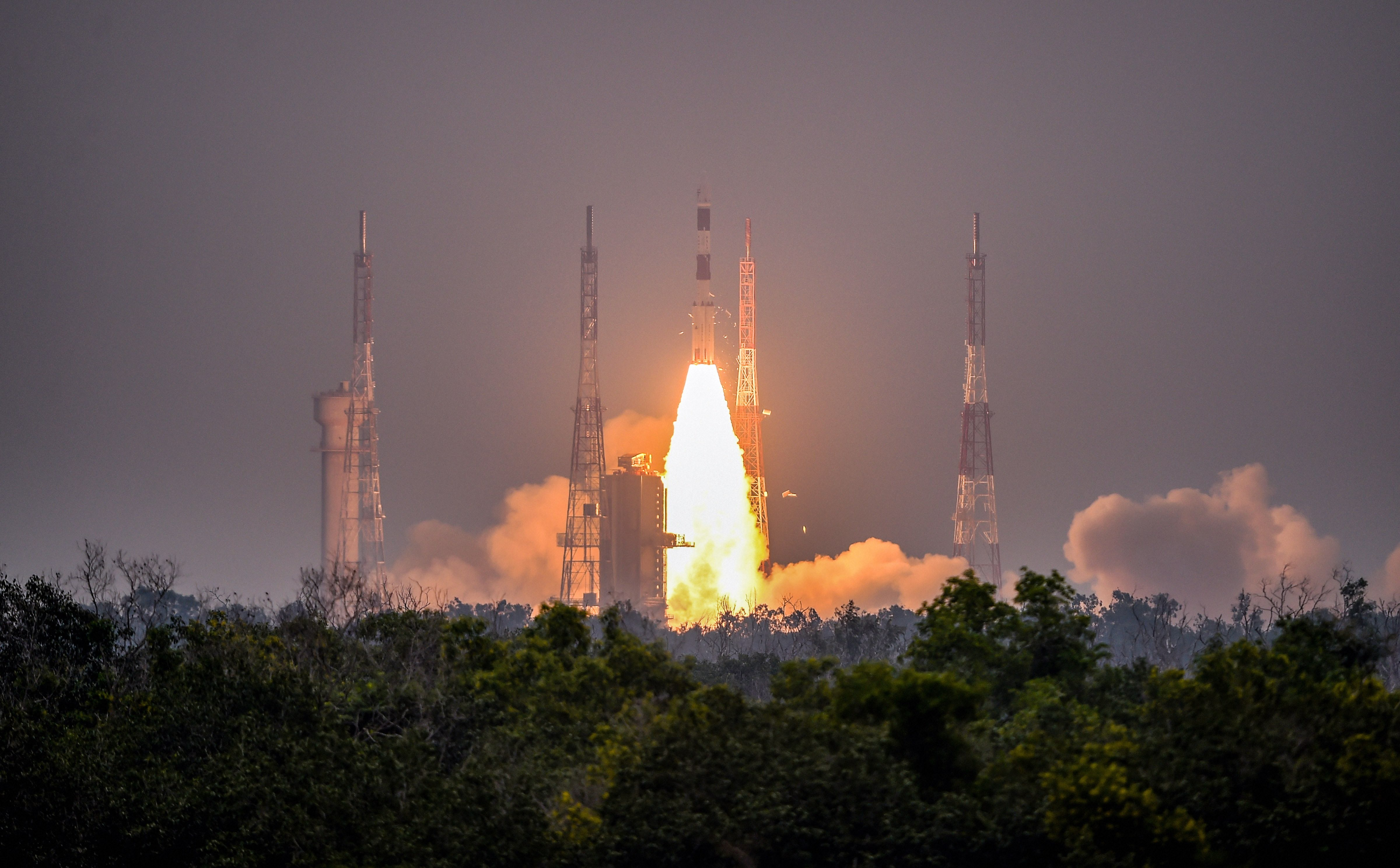 Indian Space Research Organisation's Polar Satellite Launch Vehicle, PSLV-C47, carrying India's earth observation satellite Cartosat-3 lifts off from Sriharikota, in Andhra Pradesh, Wednesday, November 27, 2019.