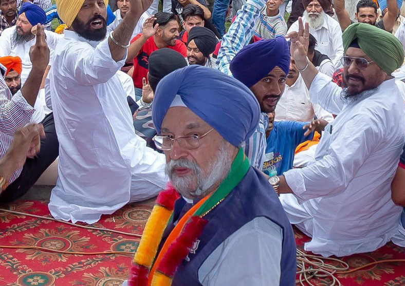 BJP's Amritsar seat candidate Hardeep Singh Puri during an election campaign rally in Majathia, Thursday, May 16, 2019.