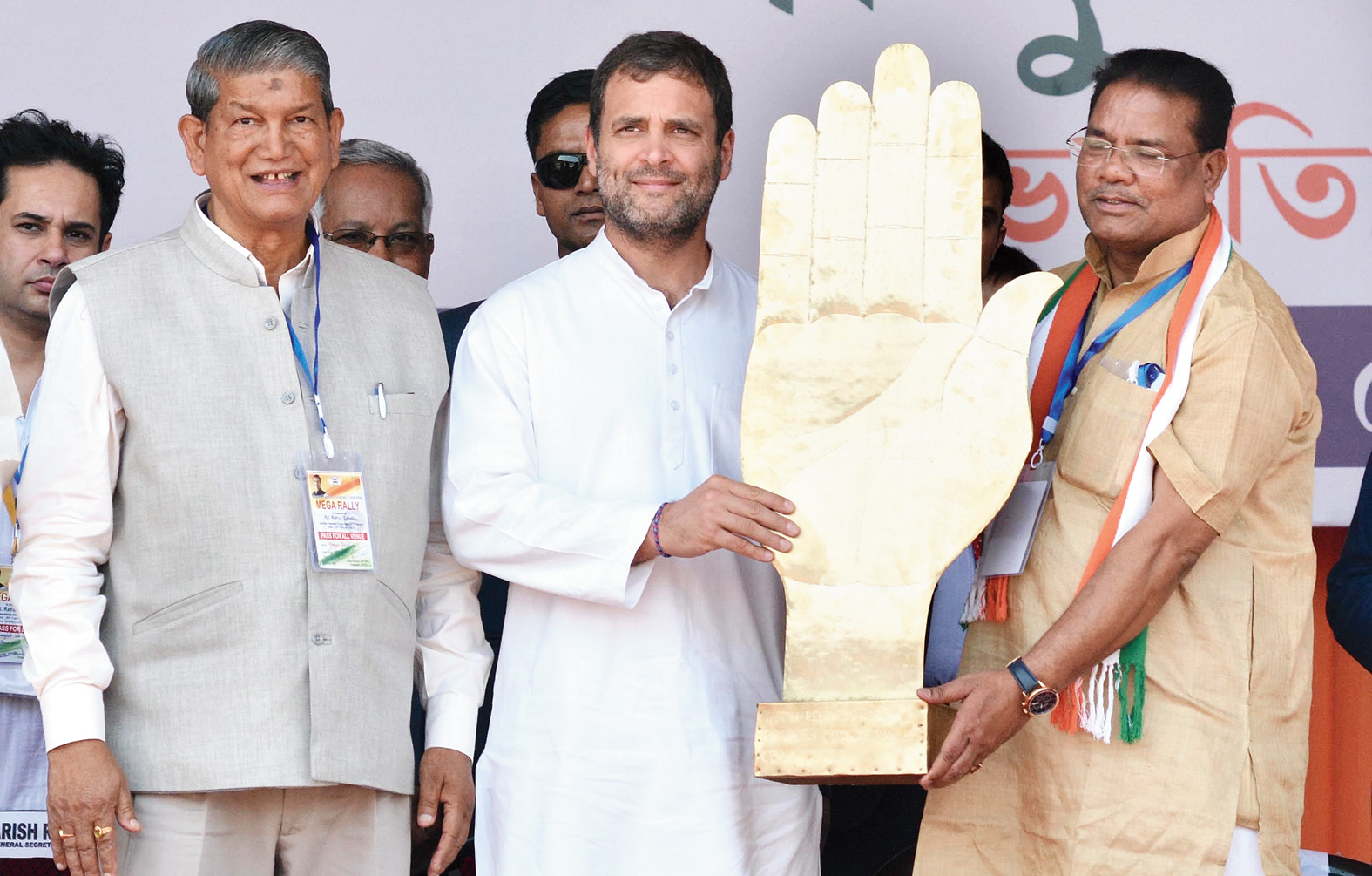Congress president Rahul Gandhi being felicitated at the rally in Guwahati on Tuesday.