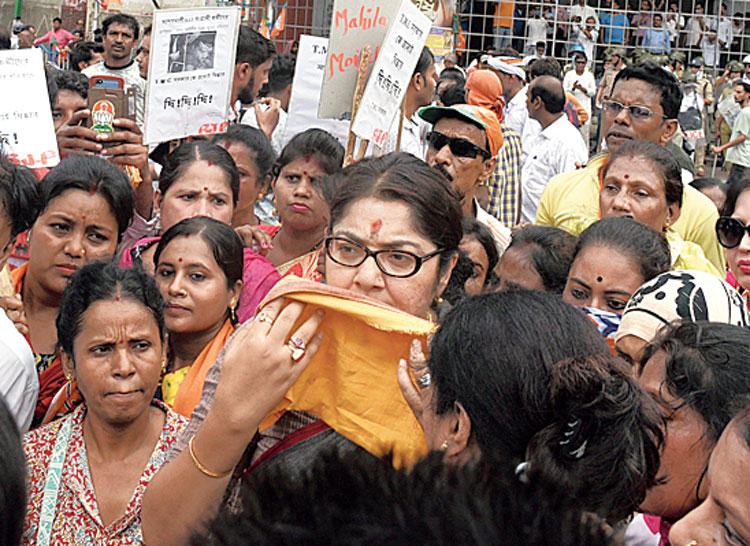 Locket Chatterjee during the BJP's march to Lalbazar in Calcutta on Wednesday
