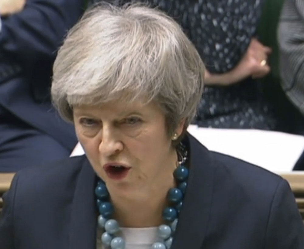 Theresa May makes a statement in the House of Commons in London on Monday.