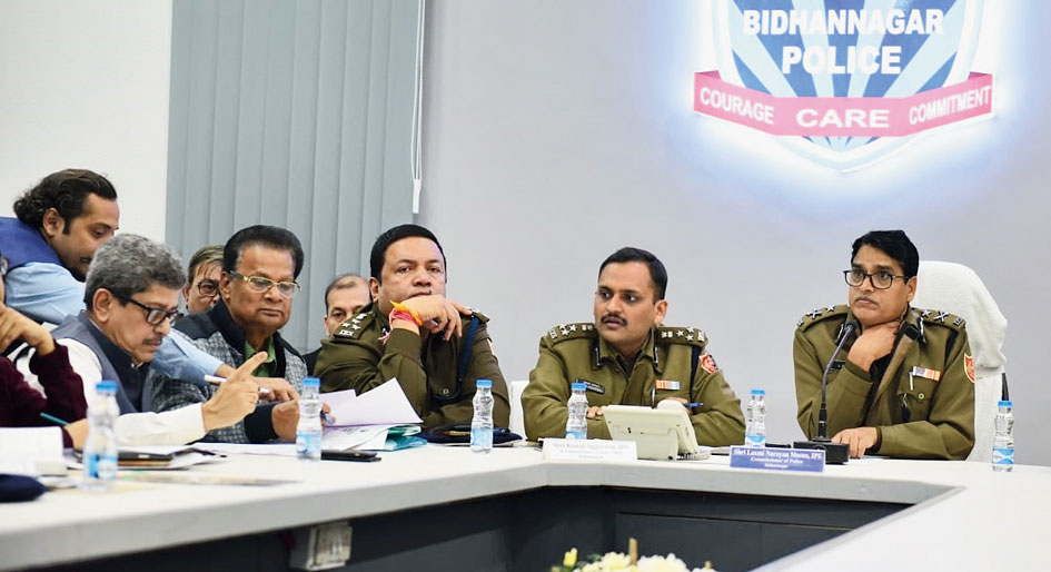 The book fair meeting in progress at the police commissionerate on Monday.