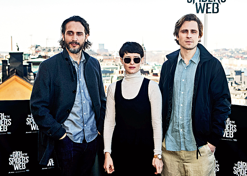 Fede Alvarez (left) with Claire Foy and Sverrir Gudnason, who plays Mikael Blomkvist